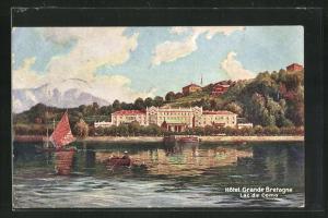 Künstler-AK Bellagio, Hotel Grande Bretagne, Lac de Como