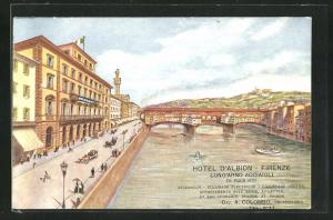 Künstler-AK Firenze, Hotel d`Albiion, Lung`Arno Acciaioli