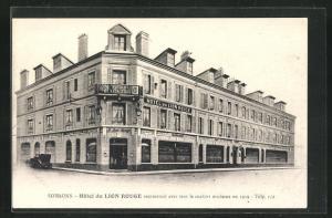 AK Soissons, Hotel du Lion Rouge, Eckfassade