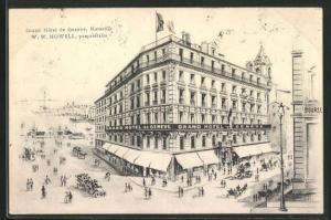 AK Marseille, Grand Hotel de Geneve, Eckfassade, Strassenbahn