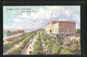 AK Venezia-Lido, Grand Hotel des Bains, Blick auf Promenaden mit Strassenbahn und Blick aufs Meer