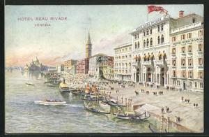 AK Venezia, Hotel Beau Rivage, Gondeln, Denkmal