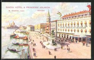 AK Venezia, Savoia Hotel & Princesse Jolanda, Reiterdenkmal und Gondeln