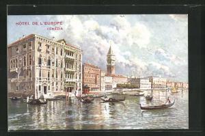 AK Venezia, Hotel de l`Europe vom Wasser aus, Gondeln