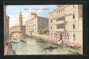AK Venezia, Hotel Vittoria, Gondeln und Brücke