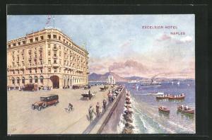 AK Naples, Excelsior Hotel, Blick von Ufer auf Boote und Autos