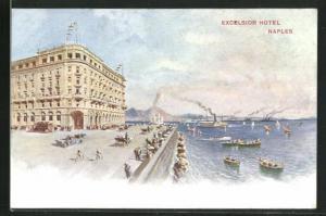 AK Naples, Excelsior Hotel, Uferstrasse mit Autos und Blick aufs Meer