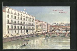 AK Florence, Hotel Italie, Blick auf Ponte Vecchio