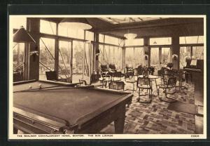 AK Buxton, The Railway Convalescent Home, The Sun Lounge, Billard, Innenansicht