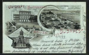 Mondschein-Lithographie Budapest, Burggarten, Quai und K. Burg, Deak Monument