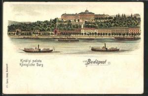 Lithographie Budapest, Blick auf die Königliche Burg