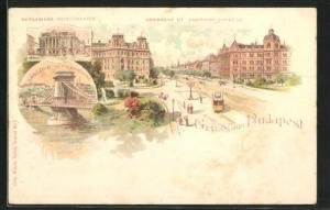 Lithographie Budapest, Andrassy Strasse, Kettenbrücke, Volkstheater