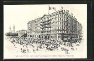 AK Marseille, Vue du Grand Hotel de Noailles et Métropole