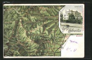 AK Gebweiler, Gymnasium, Landkarte von Elsass-Lothringen