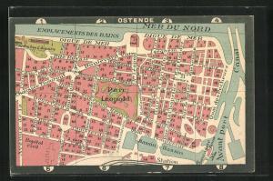 AK Ostende, Plan der Innenstadt