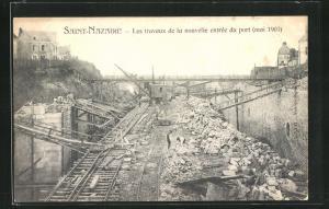 AK Saint-Nazaire, Les travaux de la nouvelle entrée du port (mai 1903)