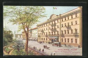 AK Milano, Hotel Manin, gegenüber den öffentlichen Gärten