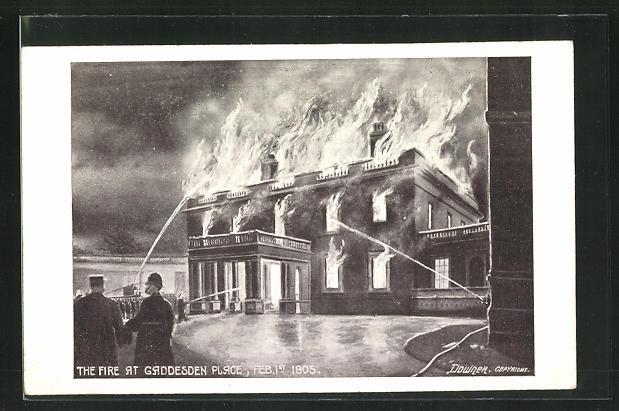 AK Hemel Hempstead, House Gaddesden Place, Fire Feb. 1st 1905 0