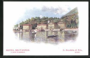 AK Cadenabbia, Blick zum Hotel Britannia