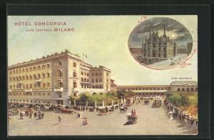 AK Milano, Strassenpartie am Hotel Concordia