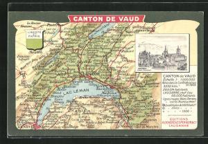 Künstler-AK Lausanne, Chateau & Cathedrale, Landkarte mit Vevey, Fribourg und Geneve, Wappen