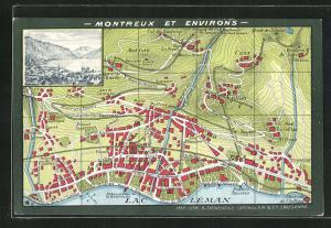 Künstler-AK Montreux, Teilansicht, Stadtkarte mit Ile de Salagnon, Christ Church und Eglise evang. allem.