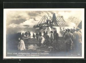 AK Teofilpolka, Brand eines strohgedeckten Hauses 1915