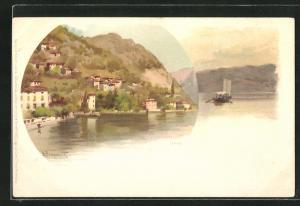 Künstler-AK Urio, Teilansicht, Ortspartie mit Boot