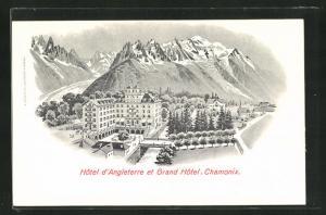 Künstler-AK Chamonix, Hotel d`Angleterre et Grand Hotel