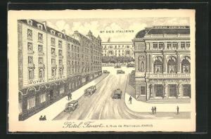 Künstler-AK Paris, Hotel Favart et Rue de Marivaux