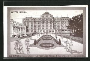 Künstler-AK La Baule, Hotel Royal, la plus belle plage d'Europe