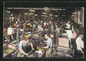 Künstler-AK Washington D.C., large Press Room, Bureau of Engraving & Printing