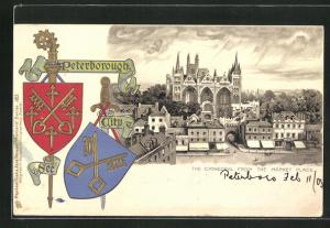 Präge-AK Peterborough, The Cathedral from The Market Place, Wappen