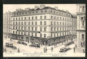 Künstler-AK Paris, Hotel Metropolitain, 8, Rue Cambon