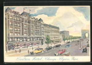 Künstler-AK Paris, Carlton Hotel, Champs-Elysees
