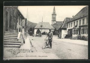 AK Bitschwiller, Rue Principale, Hauptstrasse mit Kirche