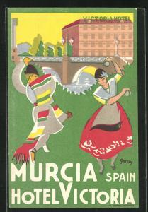 Künstler-AK Murcia, Hotel Victoria