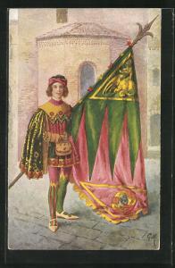 Künstler-AK Siena, Paggi delle storiche Contrade di Siena, Drago, Fahnenträger