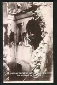 AK Paris, Bombardement 1918 par Canon a longue portee, Rue de Meaux