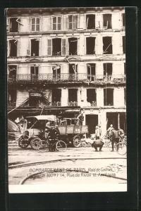 AK Paris, Bombardement 1918, Raid de Gothas, 14, Rue de Rivoli