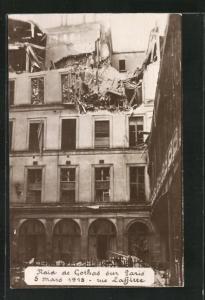 AK Paris, Raid de Gothas 1918, Rue Lafitte