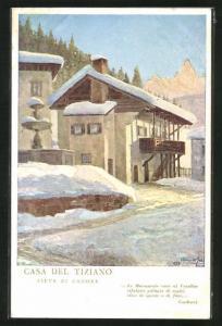 Künstler-AK Pieve di Cadore, Hotel Dolomiti