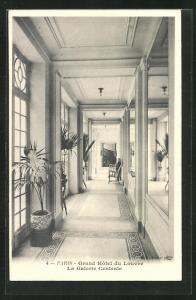 AK Paris, Grand Hotel du Louvre, La Galerie Centrale, Innenansicht