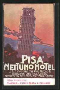 Künstler-AK Pisa, Nettuno Hotel