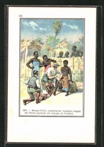 Künstler-AK Soudan, Mungo-Park, Explorateur ecoussais, soigne un blesse pendant un voyage