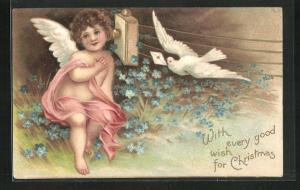 Präge-AK Weihnachtsengel und weisse Taube mit Kuvert, Weihnachtsgruss