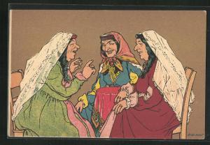 Künstler-AK sign. Oskar Schmerling: Tiflis, Georgien, Russische Frauen unterhalten sich