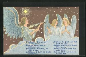 AK Engel spielt auf einer Wolke Geige, die anderen singen mit, Ünglarne sjunga med...