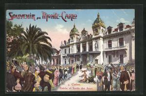 Künstler-AK Monte-Carlo, Casino Entree et Sortie des Anes, Roulette