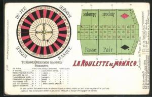 AK Monaco, La Roulette, Roulettetisch- und scheibe